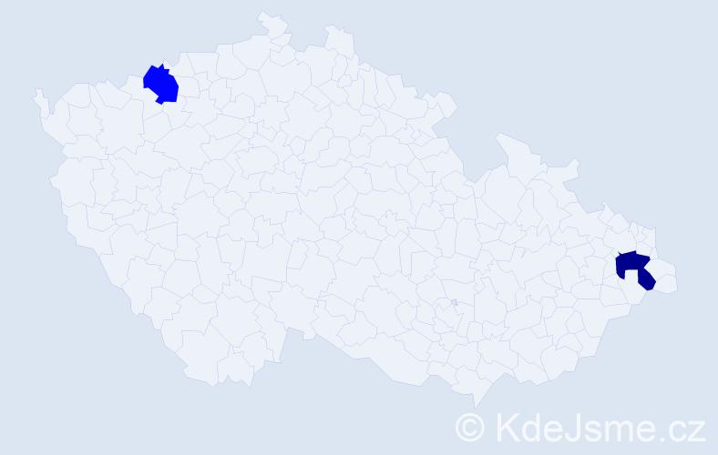 Příjmení: 'Ježik', počet výskytů 5 v celé ČR