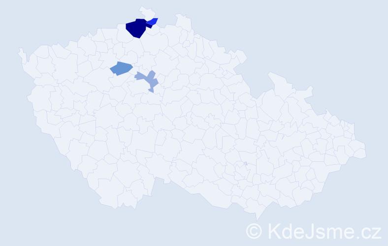 Příjmení: 'Bajcsiová', počet výskytů 8 v celé ČR