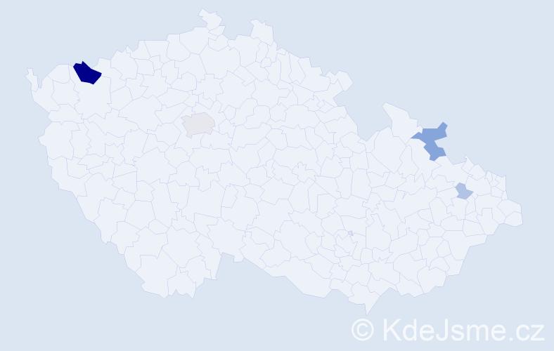 Příjmení: 'Hrádela', počet výskytů 17 v celé ČR