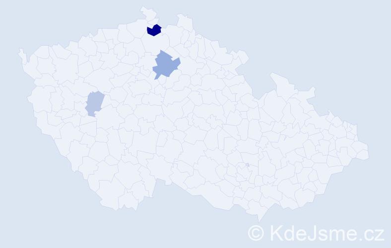Příjmení: 'Kriššák', počet výskytů 9 v celé ČR