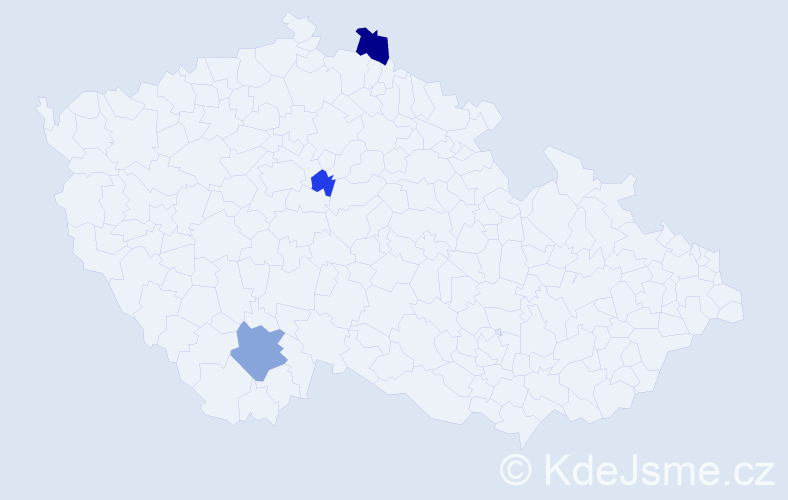 Příjmení: 'Gondkovský', počet výskytů 5 v celé ČR