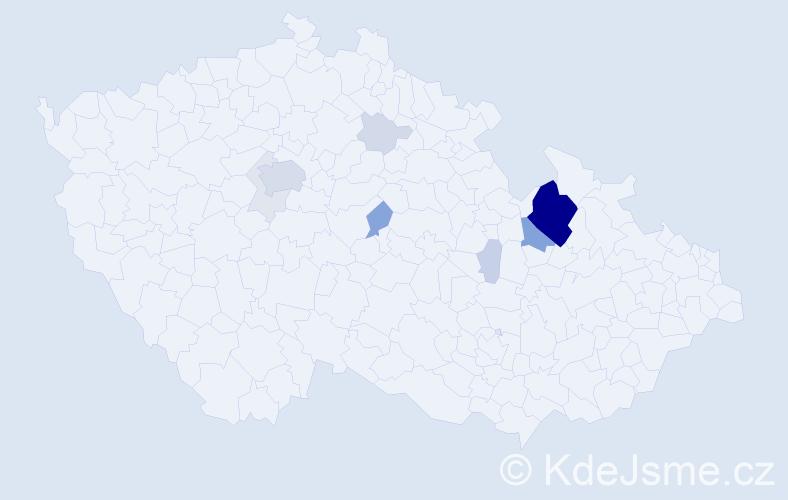 Příjmení: 'Čmakalová', počet výskytů 45 v celé ČR
