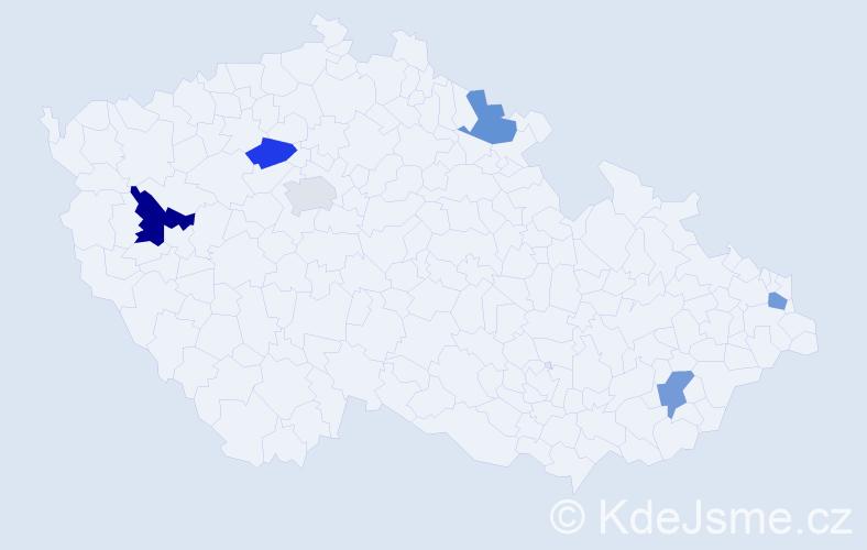 Příjmení: 'Hirmer', počet výskytů 7 v celé ČR
