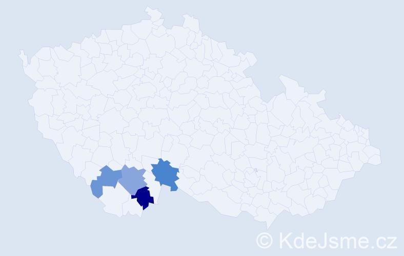 Příjmení: 'Imberová', počet výskytů 13 v celé ČR