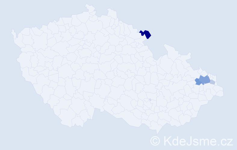 Příjmení: 'Gavač', počet výskytů 10 v celé ČR