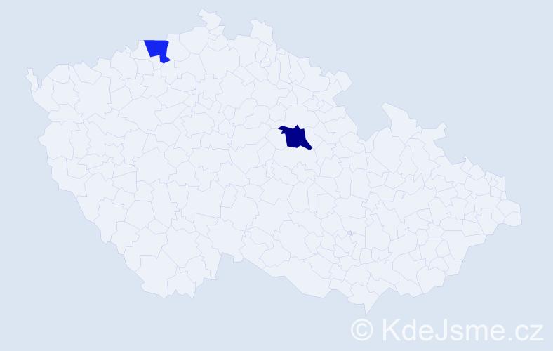 Příjmení: 'Beskybová', počet výskytů 5 v celé ČR
