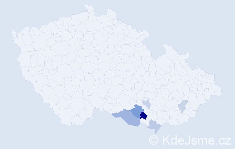 Příjmení: 'Judex', počet výskytů 11 v celé ČR