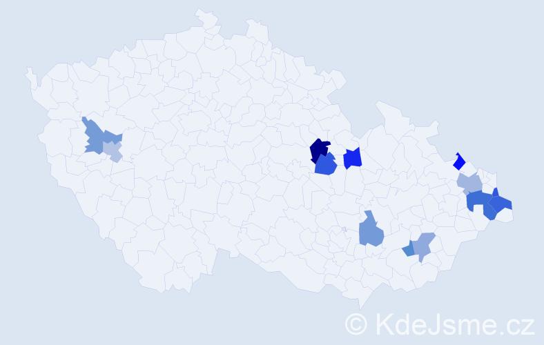 Příjmení: 'Kubatka', počet výskytů 18 v celé ČR