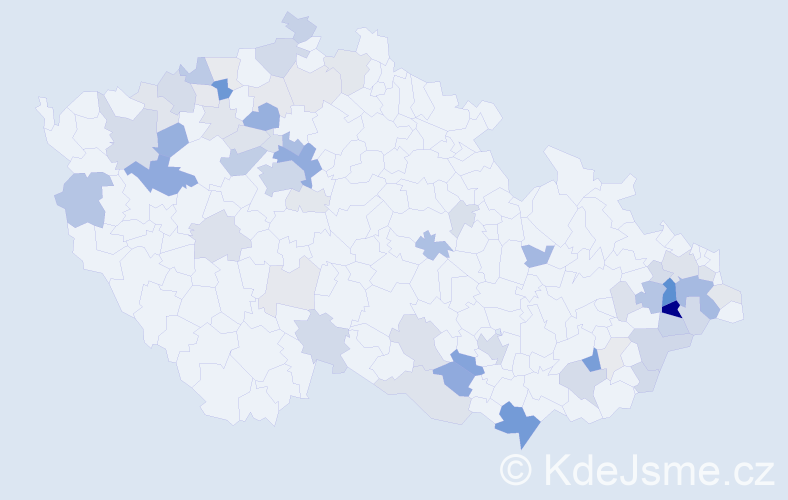 Příjmení: 'Hykl', počet výskytů 202 v celé ČR
