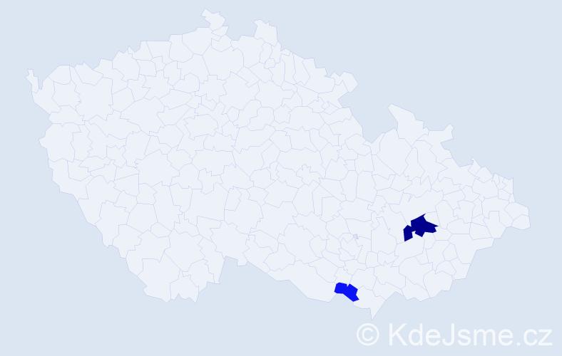 Příjmení: 'Kočerhan', počet výskytů 6 v celé ČR