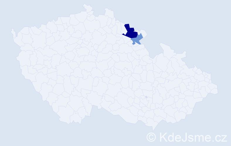 Příjmení: 'Germín', počet výskytů 4 v celé ČR