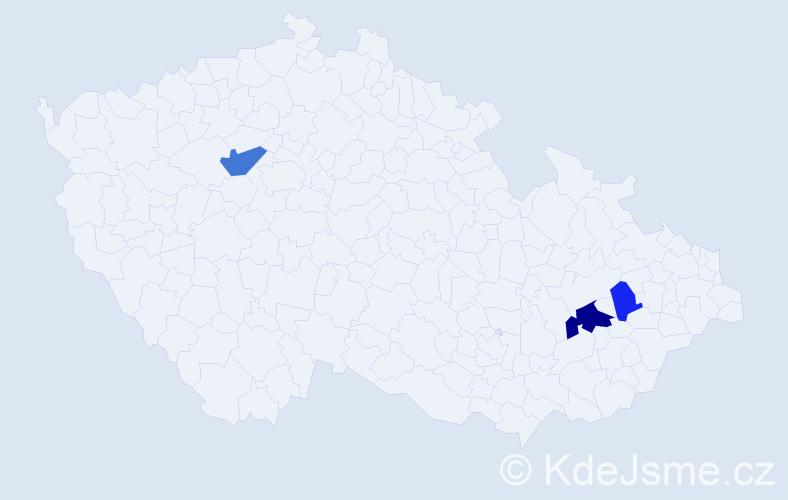 Příjmení: 'Bolerazká', počet výskytů 6 v celé ČR
