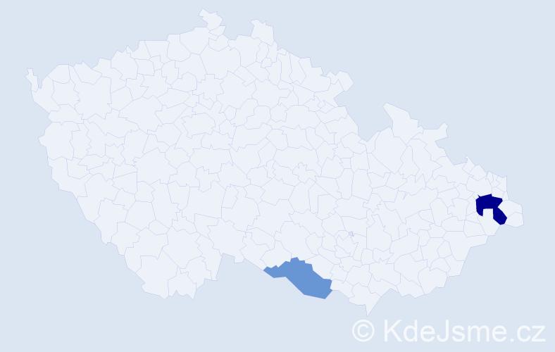 Příjmení: 'Absolinová', počet výskytů 4 v celé ČR