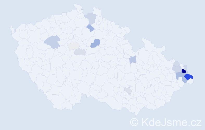 Příjmení: 'Delong', počet výskytů 78 v celé ČR