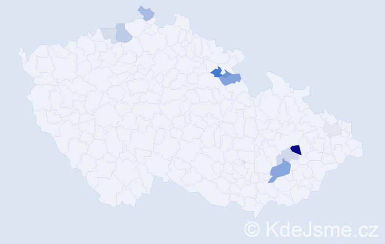 Příjmení: 'Hanusík', počet výskytů 16 v celé ČR