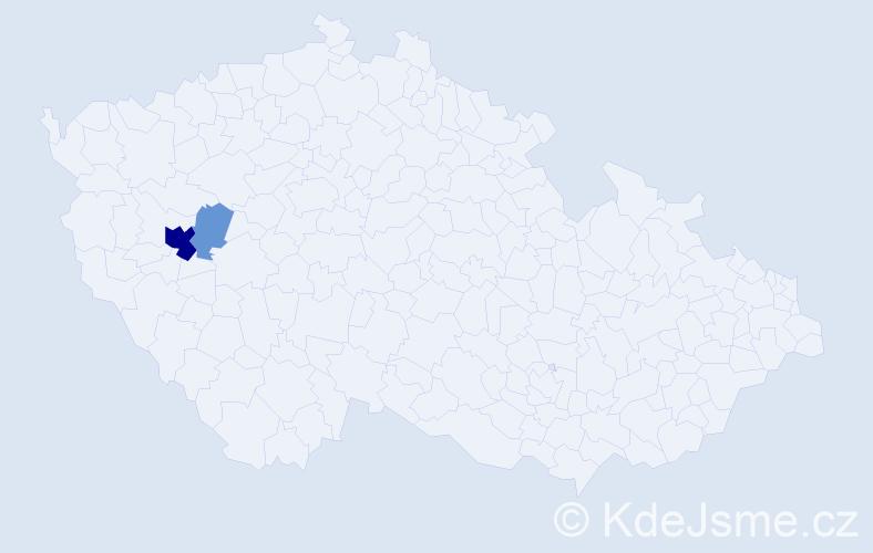 Příjmení: 'Császta', počet výskytů 8 v celé ČR