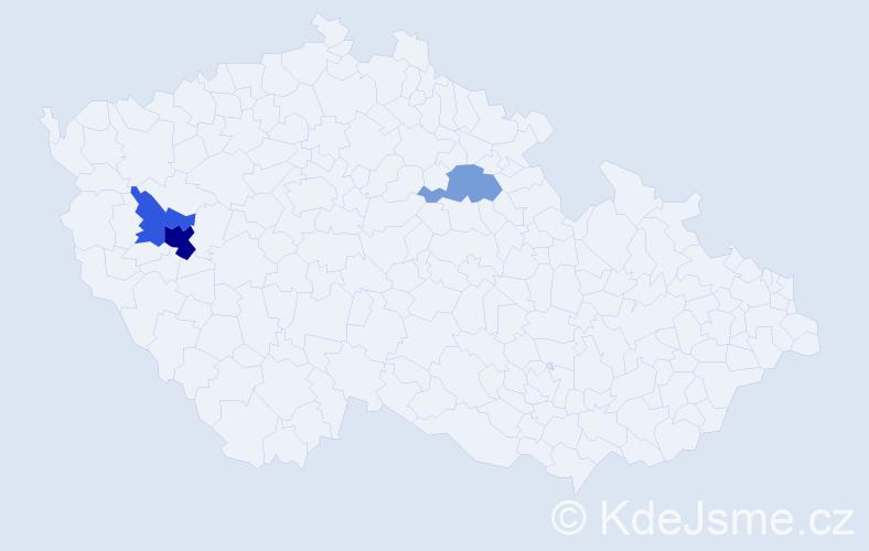 Příjmení: 'Katerová', počet výskytů 6 v celé ČR