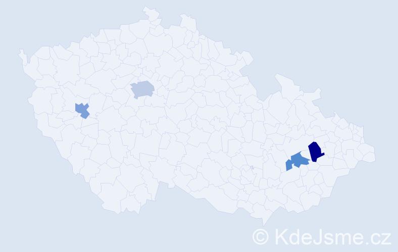 Příjmení: 'Fajkl', počet výskytů 5 v celé ČR