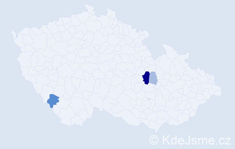 Příjmení: 'Kačurik', počet výskytů 11 v celé ČR
