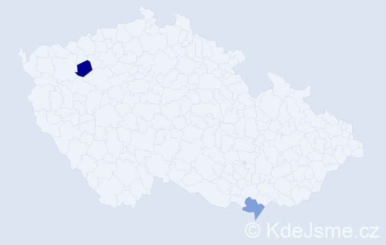 Příjmení: 'Bozsenyik', počet výskytů 2 v celé ČR