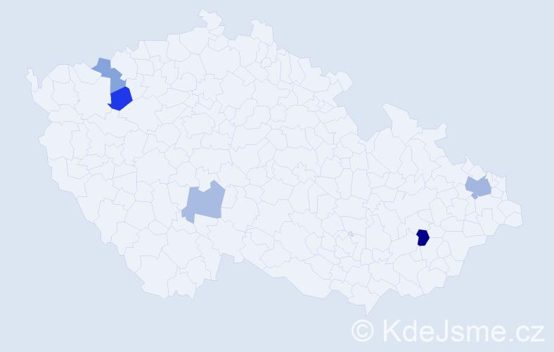 Příjmení: 'Ďurka', počet výskytů 8 v celé ČR