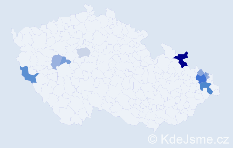 Příjmení: 'Gemelová', počet výskytů 36 v celé ČR