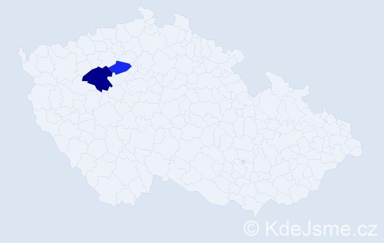 Příjmení: 'Eržiaková', počet výskytů 3 v celé ČR