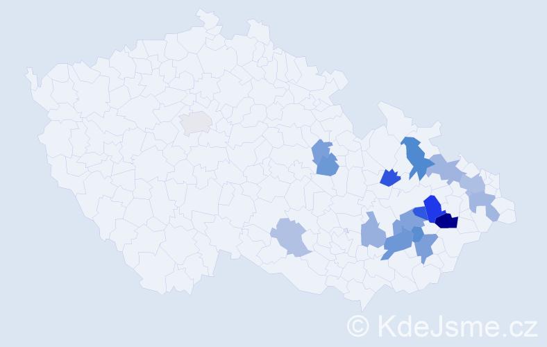 Příjmení: 'Čepica', počet výskytů 62 v celé ČR