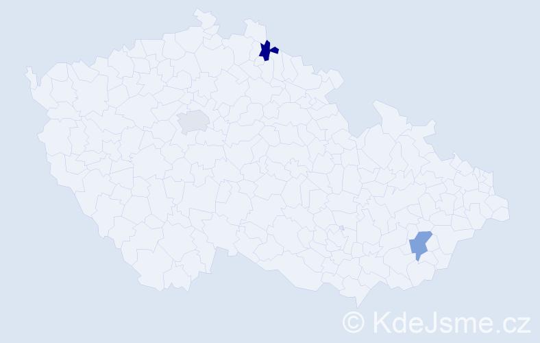 Příjmení: 'Gotwaldová', počet výskytů 3 v celé ČR