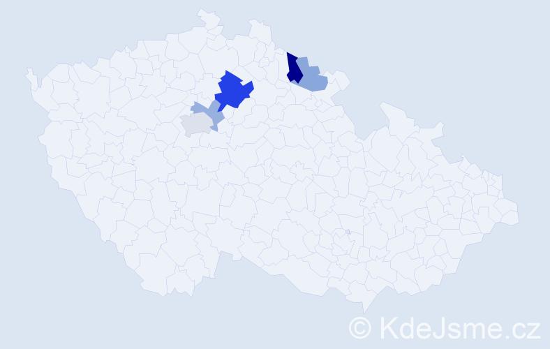 Příjmení: 'Jurkeník', počet výskytů 10 v celé ČR