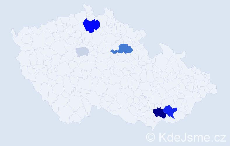 Příjmení: 'Alušic', počet výskytů 5 v celé ČR