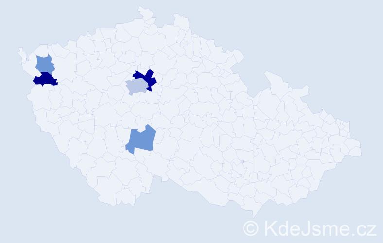 Příjmení: 'Iľko', počet výskytů 9 v celé ČR