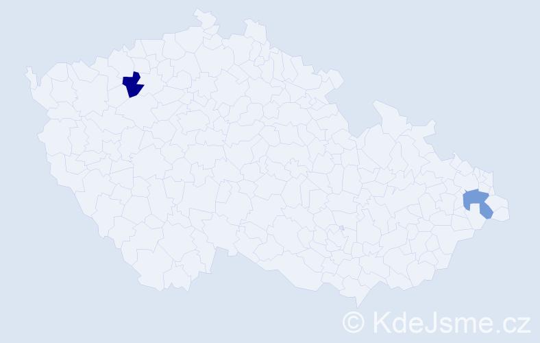 Příjmení: 'Kantárik', počet výskytů 2 v celé ČR