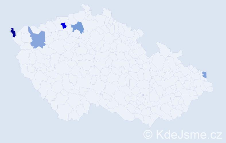 Příjmení: 'Gaspárová', počet výskytů 5 v celé ČR