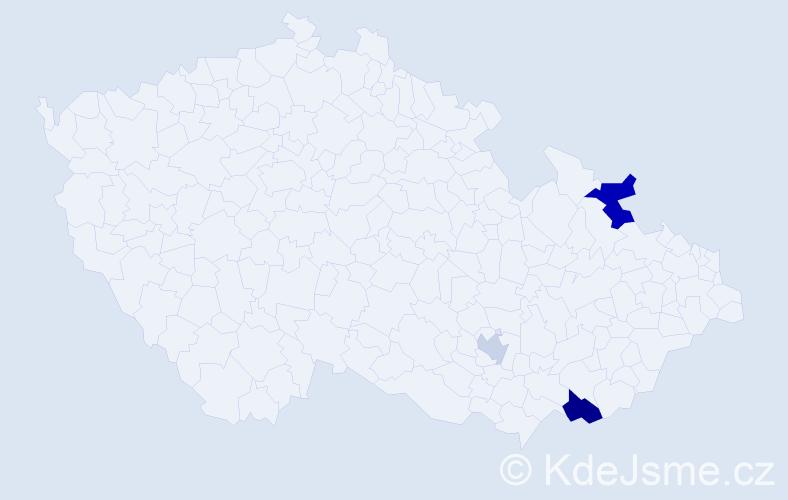 Příjmení: 'Dušan', počet výskytů 5 v celé ČR