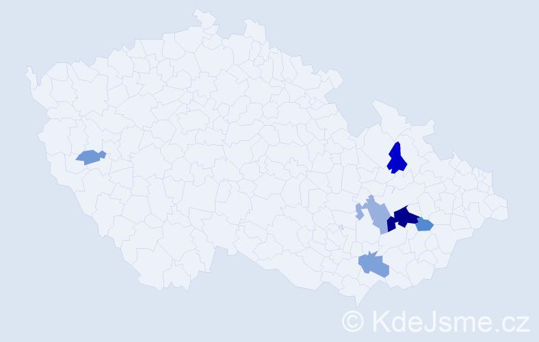 Příjmení: 'Gálíček', počet výskytů 18 v celé ČR