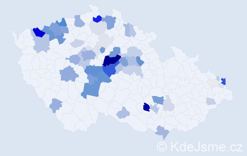 Příjmení: 'Jandáková', počet výskytů 219 v celé ČR