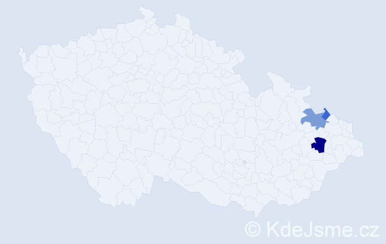 Příjmení: 'Jachnik', počet výskytů 7 v celé ČR