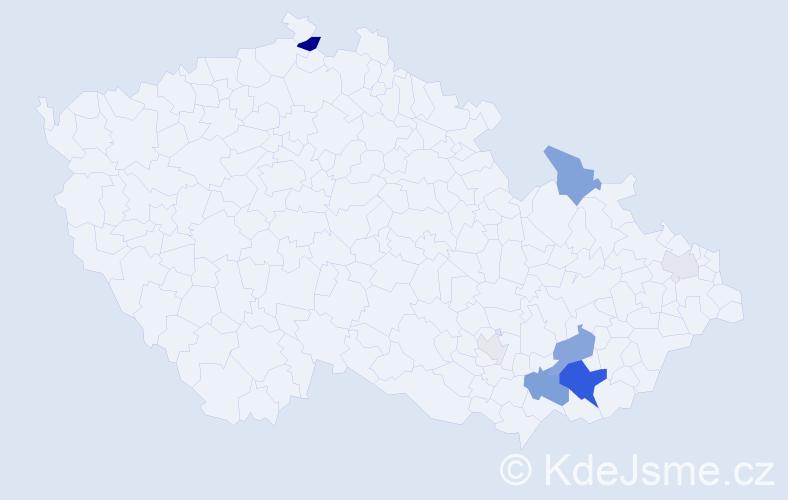 Příjmení: 'Gablas', počet výskytů 23 v celé ČR