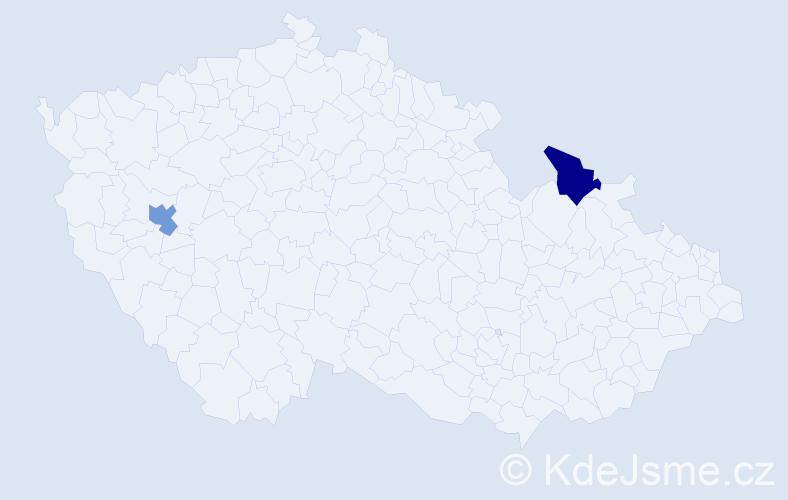 Příjmení: 'Bauder', počet výskytů 2 v celé ČR