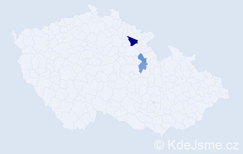 Příjmení: 'Lagutin', počet výskytů 5 v celé ČR