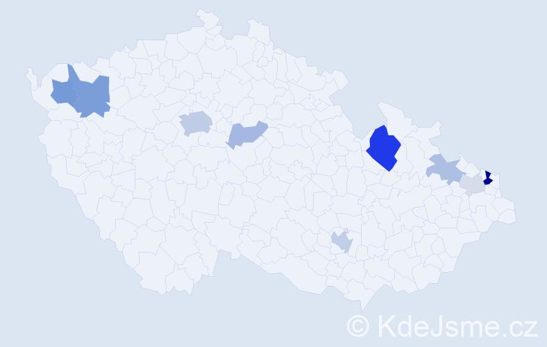Příjmení: 'Čontoš', počet výskytů 23 v celé ČR