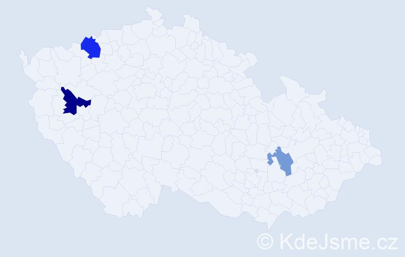 Příjmení: 'Kubičár', počet výskytů 5 v celé ČR