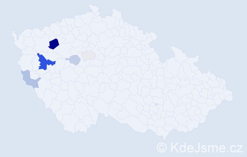 Příjmení: 'Cvachouček', počet výskytů 13 v celé ČR
