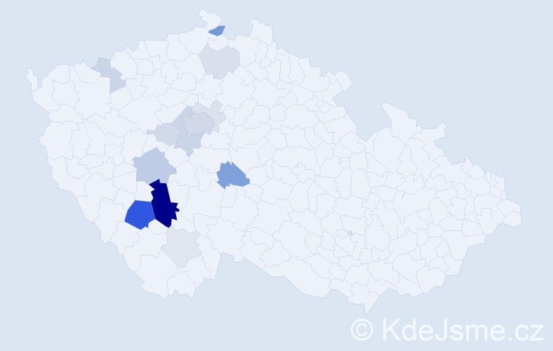 Příjmení: 'Čuřín', počet výskytů 49 v celé ČR