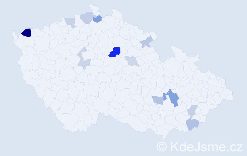 Příjmení: 'Bahnová', počet výskytů 17 v celé ČR