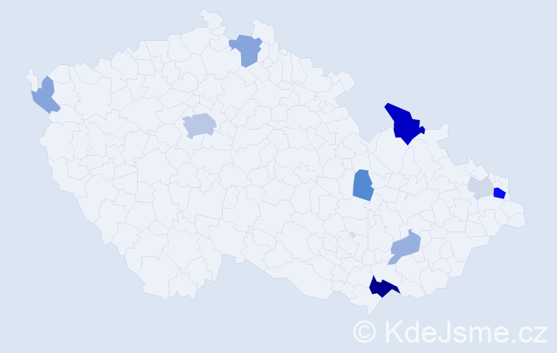 Příjmení: 'Glembová', počet výskytů 25 v celé ČR