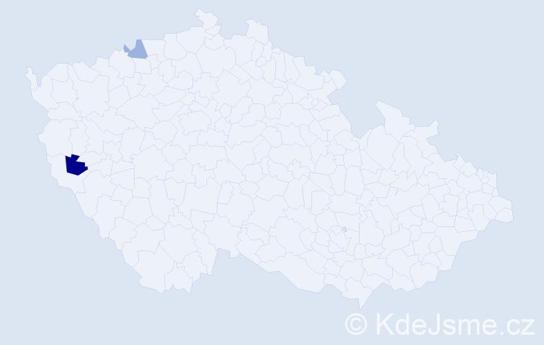 Příjmení: 'Kaňjak', počet výskytů 3 v celé ČR