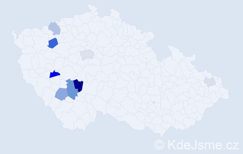 Příjmení: 'Justýnová', počet výskytů 12 v celé ČR