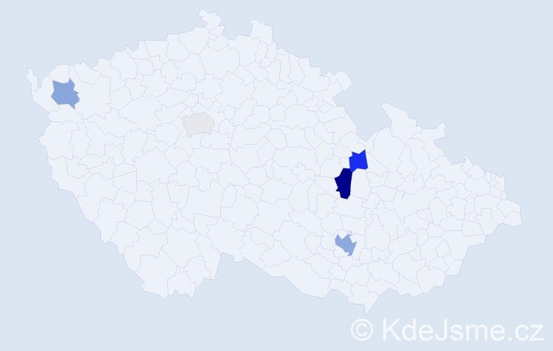 Příjmení: 'Kerum', počet výskytů 8 v celé ČR